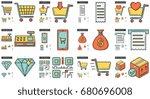 vector set of shopping line... | Shutterstock .eps vector #680696008