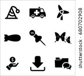 set of 9 miscellaneous icons... | Shutterstock .eps vector #680702908