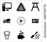set of 9 miscellaneous icons... | Shutterstock .eps vector #680703778