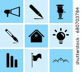 set of 9 mixed icons such as... | Shutterstock .eps vector #680703784