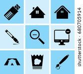 set of 9 mixed icons such as... | Shutterstock .eps vector #680705914