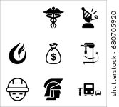 set of 9 miscellaneous icons... | Shutterstock .eps vector #680705920