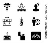 set of 9 miscellaneous icons... | Shutterstock .eps vector #680709664