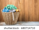 clothes in a laundry wooden... | Shutterstock . vector #680714710