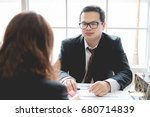 client and lawyer have a sit... | Shutterstock . vector #680714839