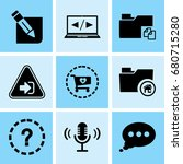 set of 9 web icons such as... | Shutterstock .eps vector #680715280