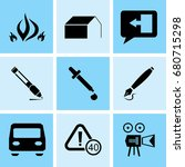 set of 9 mixed icons such as... | Shutterstock .eps vector #680715298