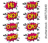 bubble with expression text wow ... | Shutterstock .eps vector #680715640