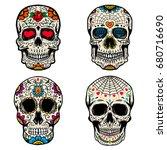 set of the sugar skulls... | Shutterstock .eps vector #680716690