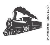 vintage train isolated on white ... | Shutterstock .eps vector #680716714