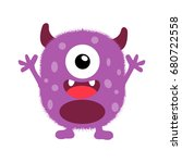 cute monster fluffy illustration | Shutterstock .eps vector #680722558