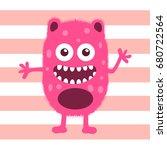 cute monster fluffy illustration | Shutterstock .eps vector #680722564