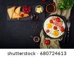 english breakfast   fried egg   ... | Shutterstock . vector #680724613