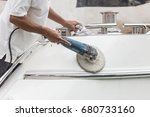 yacht maintenance. a man... | Shutterstock . vector #680733160