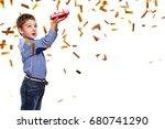 portrait happy child boy. new... | Shutterstock . vector #680741290