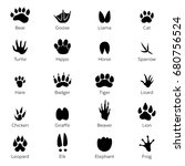 Stock vector different footprints of birds and animals vector monochrome pictures on white background 680756524