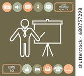 presentation sign   line icon.... | Shutterstock .eps vector #680757298