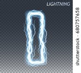 lightning and thunder bolt or... | Shutterstock .eps vector #680757658