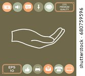 open hand   line icon   Shutterstock .eps vector #680759596