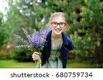 adorable school age kid girl in ... | Shutterstock . vector #680759734