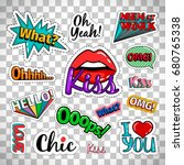 quirky quotes stickers set with ... | Shutterstock .eps vector #680765338