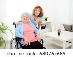 cheerful mature woman visiting... | Shutterstock . vector #680765689