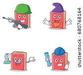 set of red book character with... | Shutterstock .eps vector #680768164