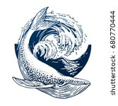 Hand drawn blue whale vector round illustration. Big wave and sea fish in vintage style. Outdoor activity travel symbol, tourism. Engraved illustration for poster, tattoo, t-shirt and card design. | Shutterstock vector #680770444