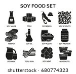 soy food silhouette icons set.... | Shutterstock .eps vector #680774323