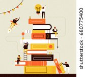 book and people poster vector illustration flat design | Shutterstock vector #680775400