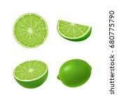 set of isolated colored green... | Shutterstock .eps vector #680775790
