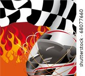 racing flag and helmet with... | Shutterstock . vector #68077660