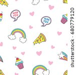 cute doodle seamless background ... | Shutterstock .eps vector #680779120
