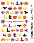 happy halloween greeting card.... | Shutterstock .eps vector #680795674