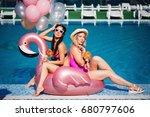 two beautiful girlfriends in... | Shutterstock . vector #680797606