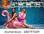 two beautiful girlfriends in... | Shutterstock . vector #680797609
