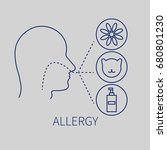 allergies and allergens.man and ... | Shutterstock .eps vector #680801230