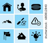 set of 9 mixed icons such as... | Shutterstock .eps vector #680812840