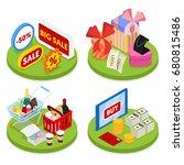 isometric online shopping... | Shutterstock .eps vector #680815486