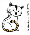 linear depicted a tiger with... | Shutterstock . vector #680817700