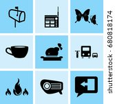 set of 9 mixed icons such as... | Shutterstock .eps vector #680818174
