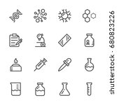 laboratory equipment icons set. ... | Shutterstock .eps vector #680823226