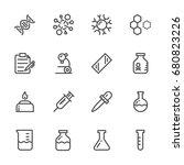 laboratory equipment icons set. ... | Shutterstock .eps vector #680823226
