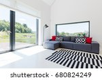very bright living room in a...   Shutterstock . vector #680824249