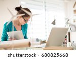 beautiful woman architect ... | Shutterstock . vector #680825668