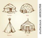 old nomad rural handmade camp...   Shutterstock .eps vector #680826988