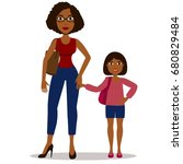 young african mother holds a... | Shutterstock .eps vector #680829484