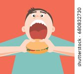 man open mouth for eat hamburger | Shutterstock .eps vector #680832730