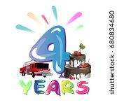 anniversary sign four for happy ... | Shutterstock .eps vector #680834680