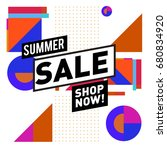 summer sale geometric style web ... | Shutterstock .eps vector #680834920